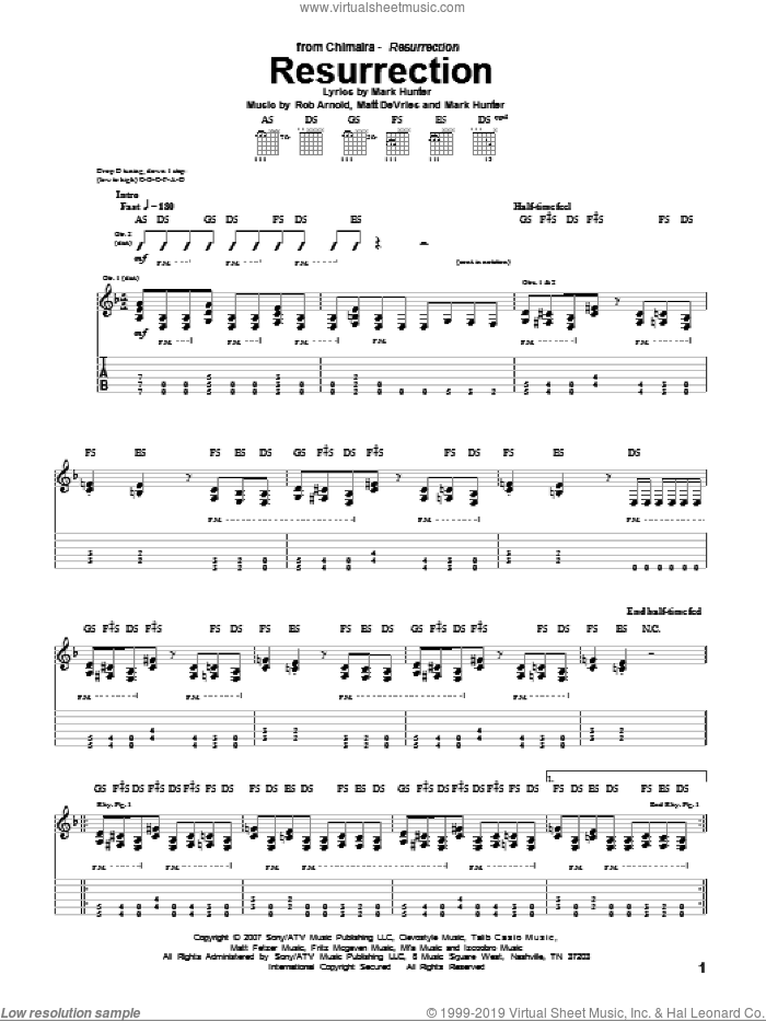 Resurrection sheet music for guitar (tablature) by Rob Arnold, Chimaira, Mark Hunter and Matt DeVries. Score Image Preview.