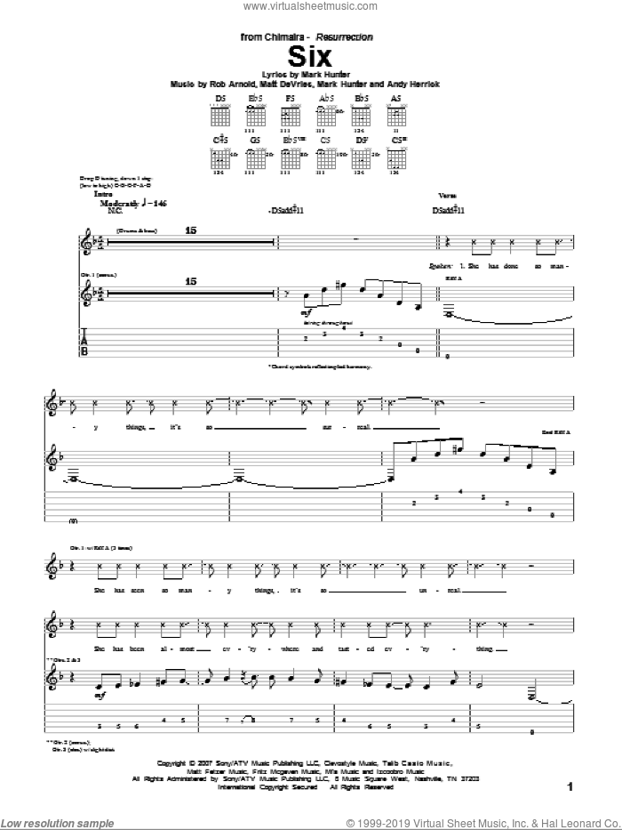 Six sheet music for guitar (tablature) by Chimaira, intermediate guitar (tablature). Score Image Preview.