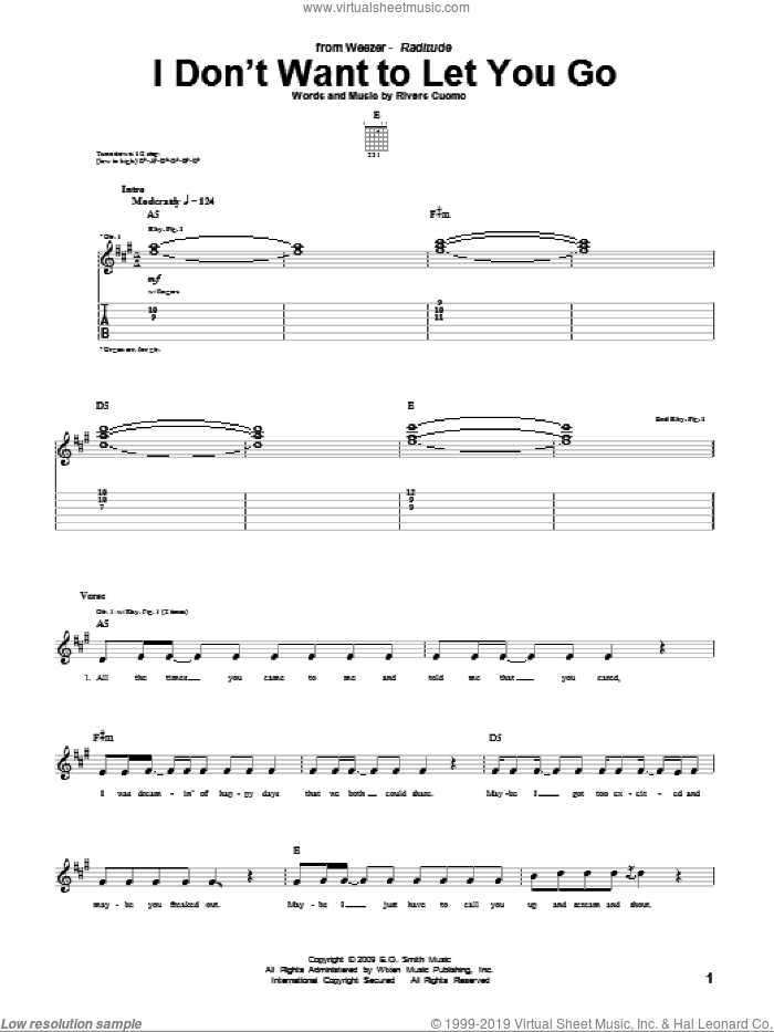 I Don't Want To Let You Go sheet music for guitar (tablature) by Rivers Cuomo and Weezer. Score Image Preview.