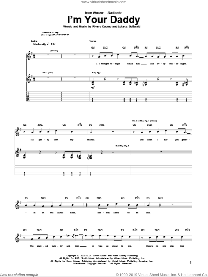 I'm Your Daddy sheet music for guitar (tablature) by Rivers Cuomo, Weezer and Lukasz Gottwald. Score Image Preview.