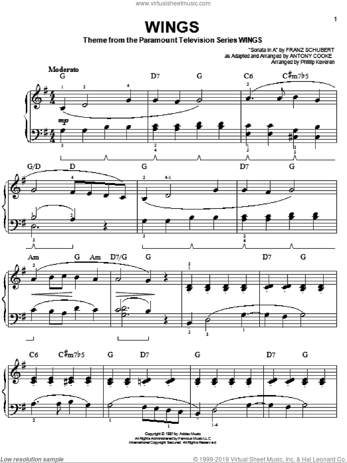 Wings sheet music for piano solo by Antony Cooke and Phillip Keveren. Score Image Preview.
