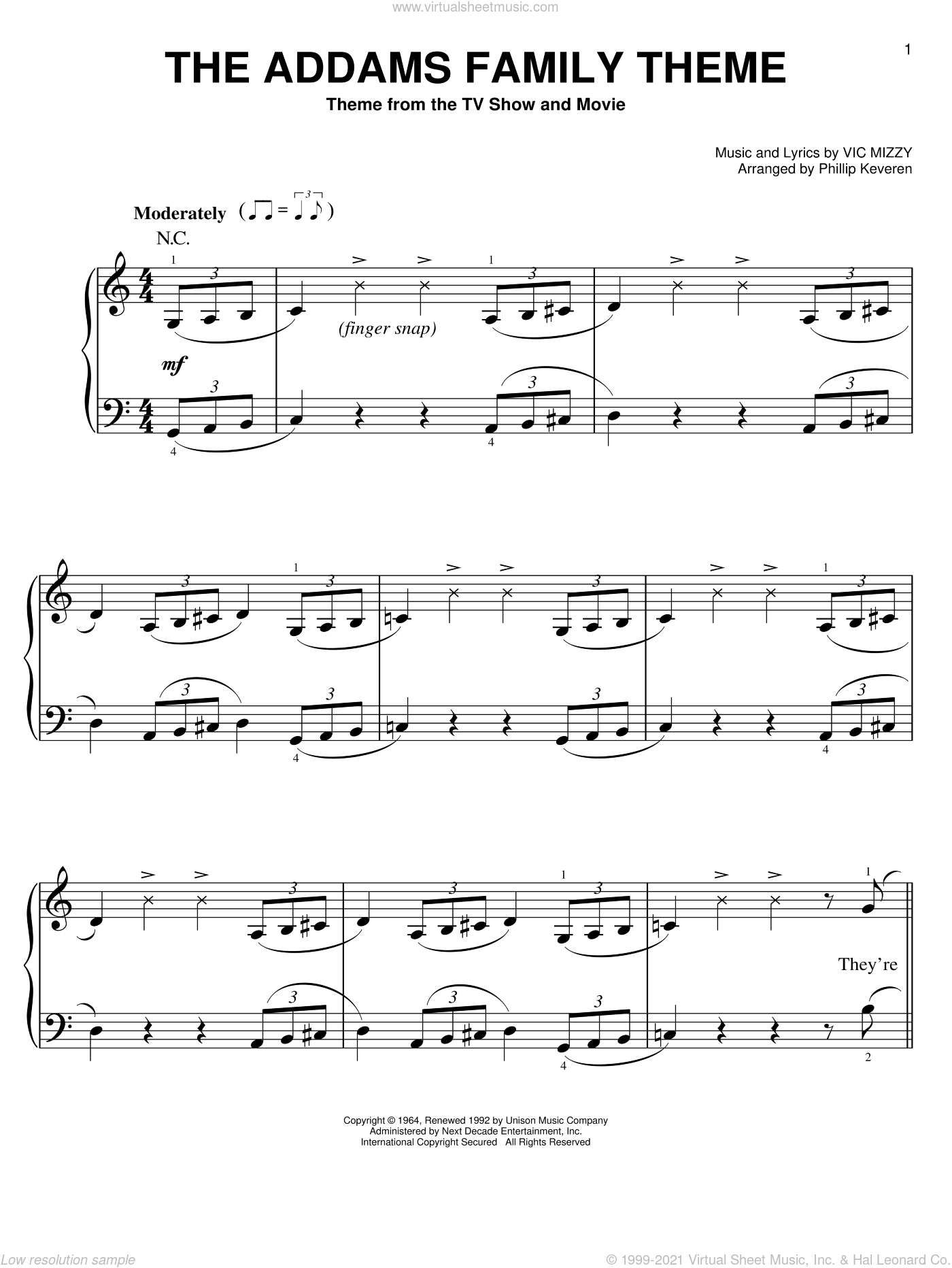 The Addams Family Theme, (easy) sheet music for piano solo by Vic Mizzy and Phillip Keveren, easy skill level