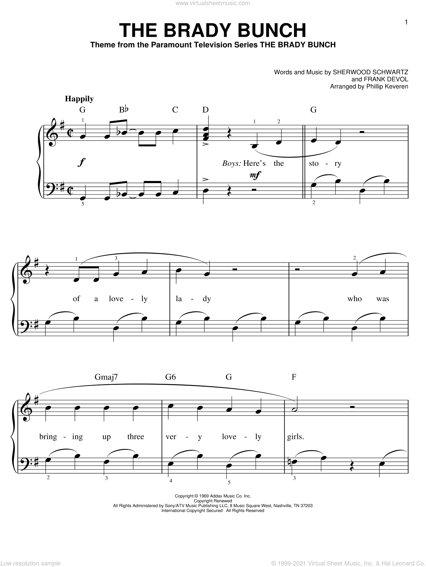 The Brady Bunch sheet music for piano solo by Frank DeVol