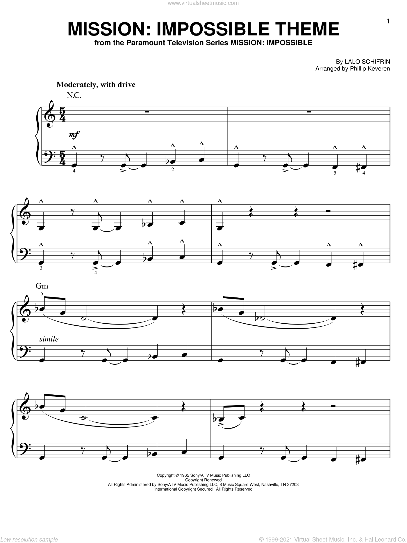 Mission: Impossible Theme sheet music for piano solo (chords) by Lalo Schifrin