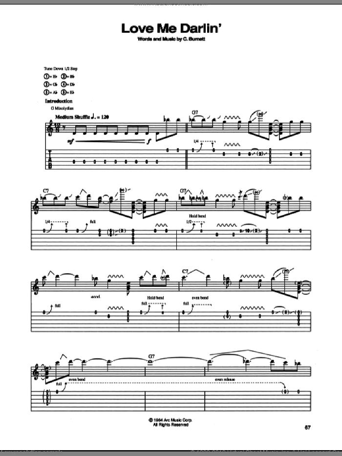 Love Me Darlin' sheet music for guitar (tablature) by Stevie Ray Vaughan and Chester Burnett, intermediate skill level
