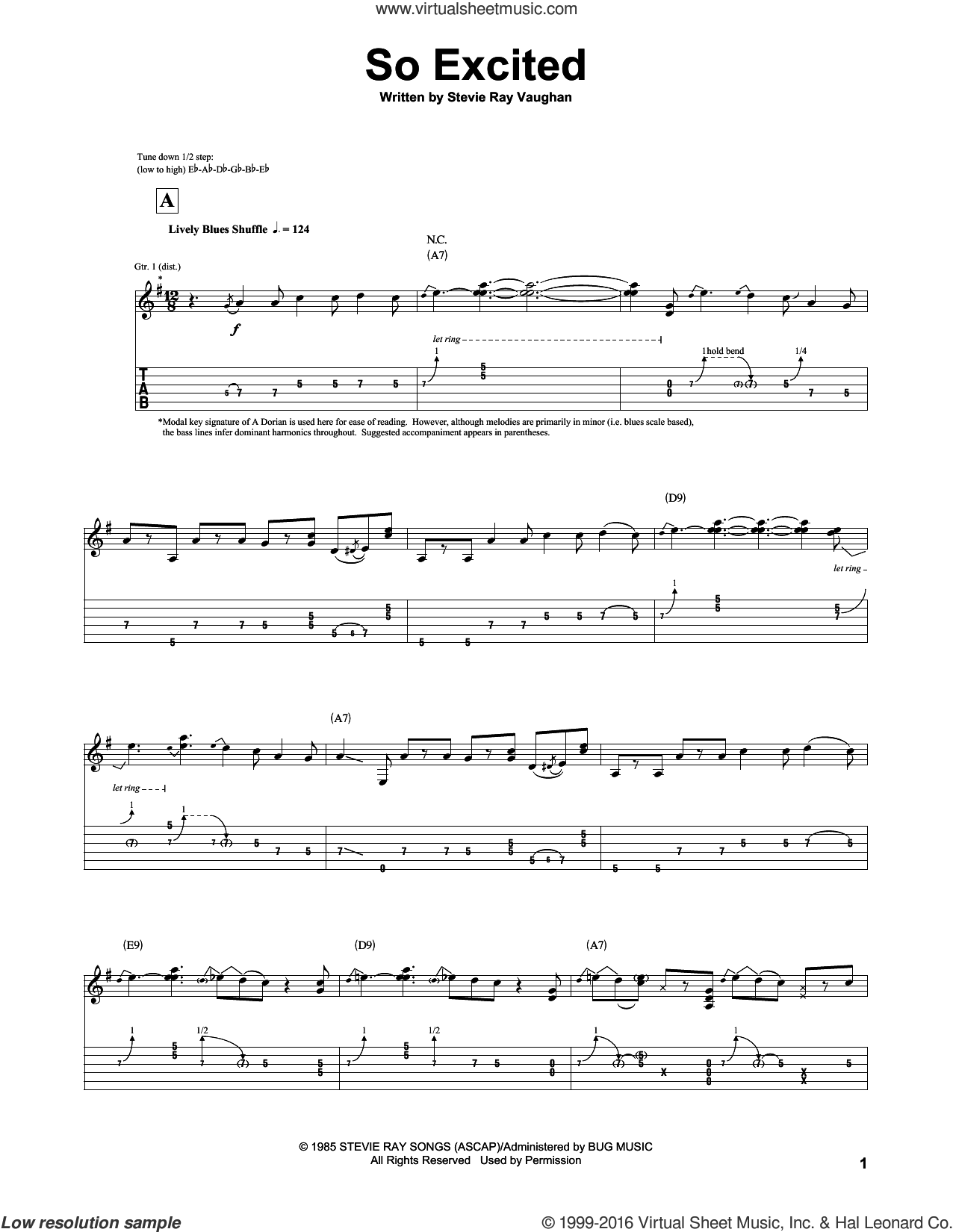 So Excited sheet music for guitar (tablature) by Stevie Ray Vaughan. Score Image Preview.