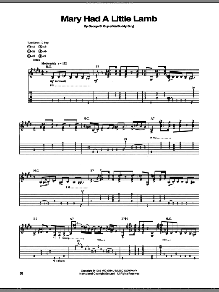 Mary Had A Little Lamb sheet music for guitar (tablature) by Stevie Ray Vaughan and Buddy Guy, intermediate. Score Image Preview.