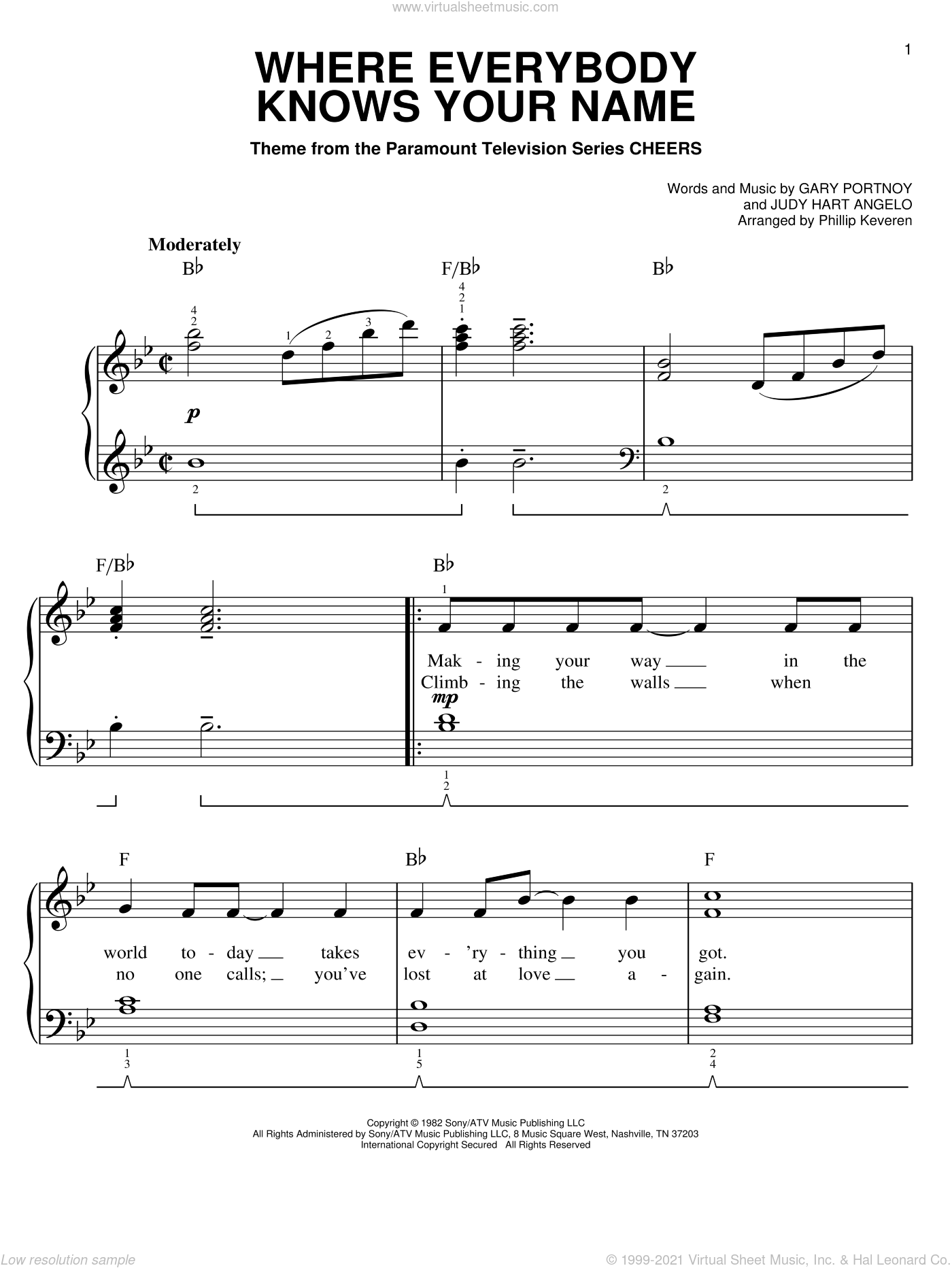 Where Everybody Knows Your Name sheet music for piano solo (chords) by Judy Hart Angelo