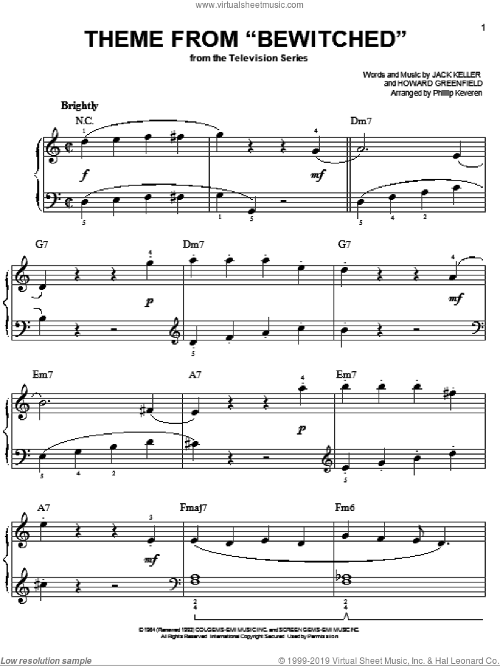 Theme from Bewitched sheet music for piano solo by Howard Greenfield, Phillip Keveren and Jack Keller, easy skill level