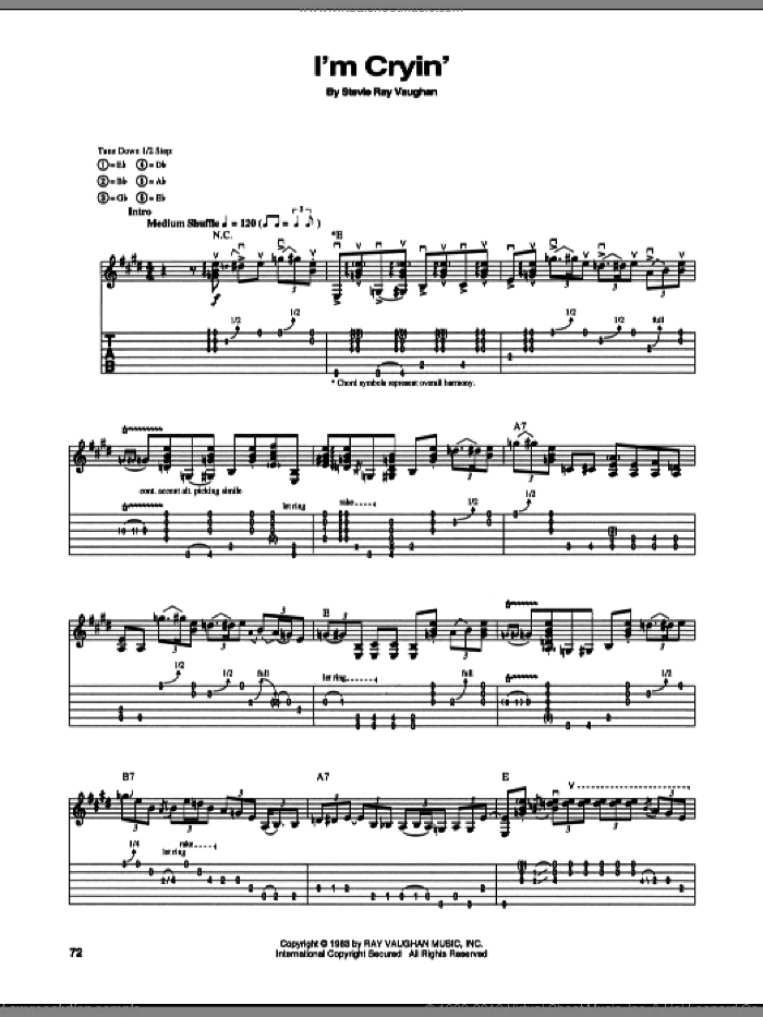 I'm Cryin' sheet music for guitar (tablature) by Stevie Ray Vaughan. Score Image Preview.