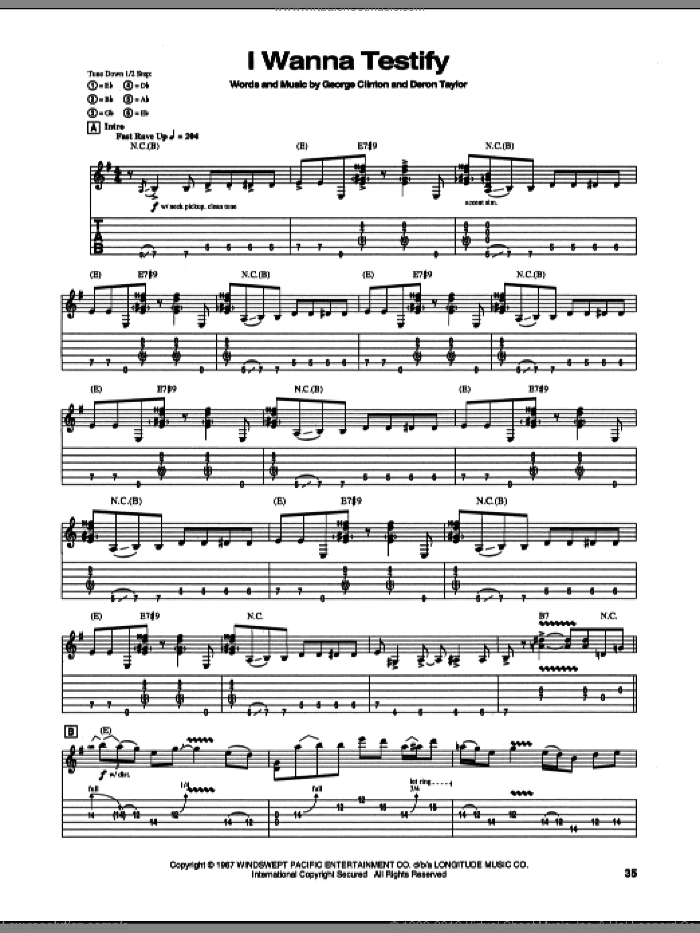 I Wanna Testify sheet music for guitar (tablature) by Stevie Ray Vaughan, intermediate guitar (tablature). Score Image Preview.