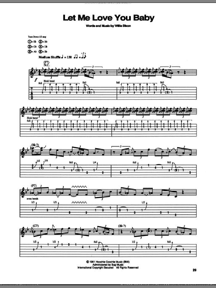 Let Me Love You Baby sheet music for guitar (tablature) by Stevie Ray Vaughan and Willie Dixon, intermediate. Score Image Preview.