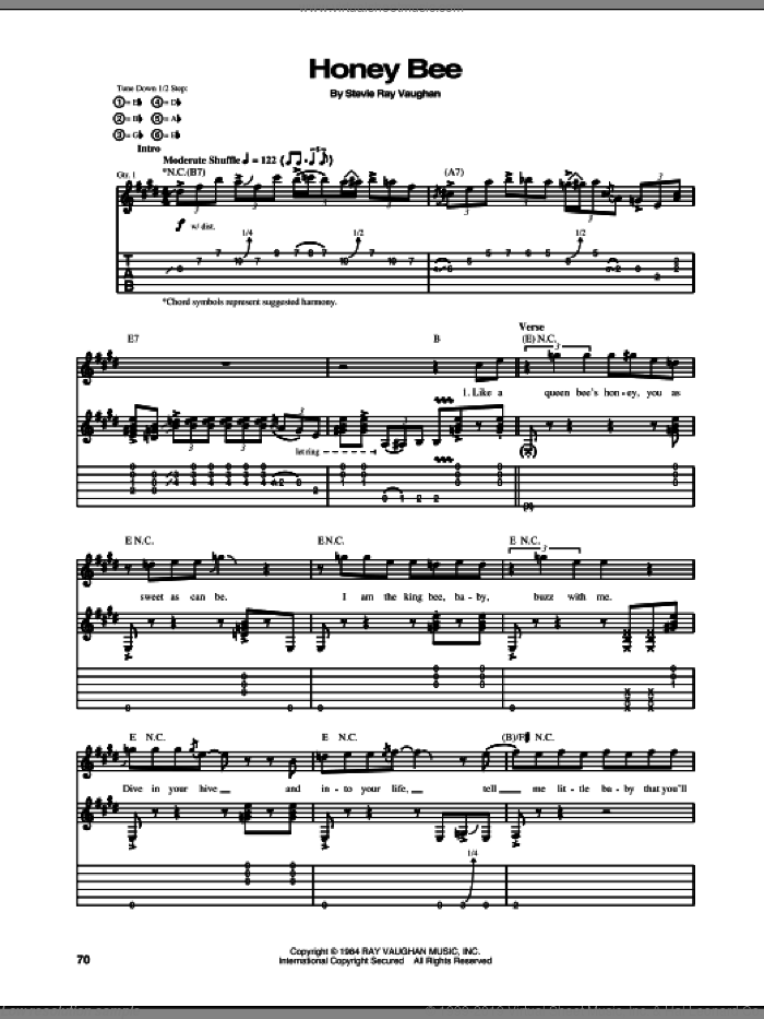 Honey Bee sheet music for guitar (tablature) by Stevie Ray Vaughan, intermediate guitar (tablature). Score Image Preview.