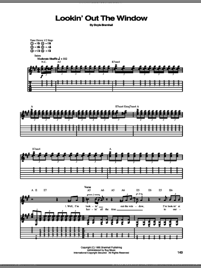 Lookin' Out The Window sheet music for guitar (tablature) by Stevie Ray Vaughan and Doyle Bramhall, intermediate. Score Image Preview.
