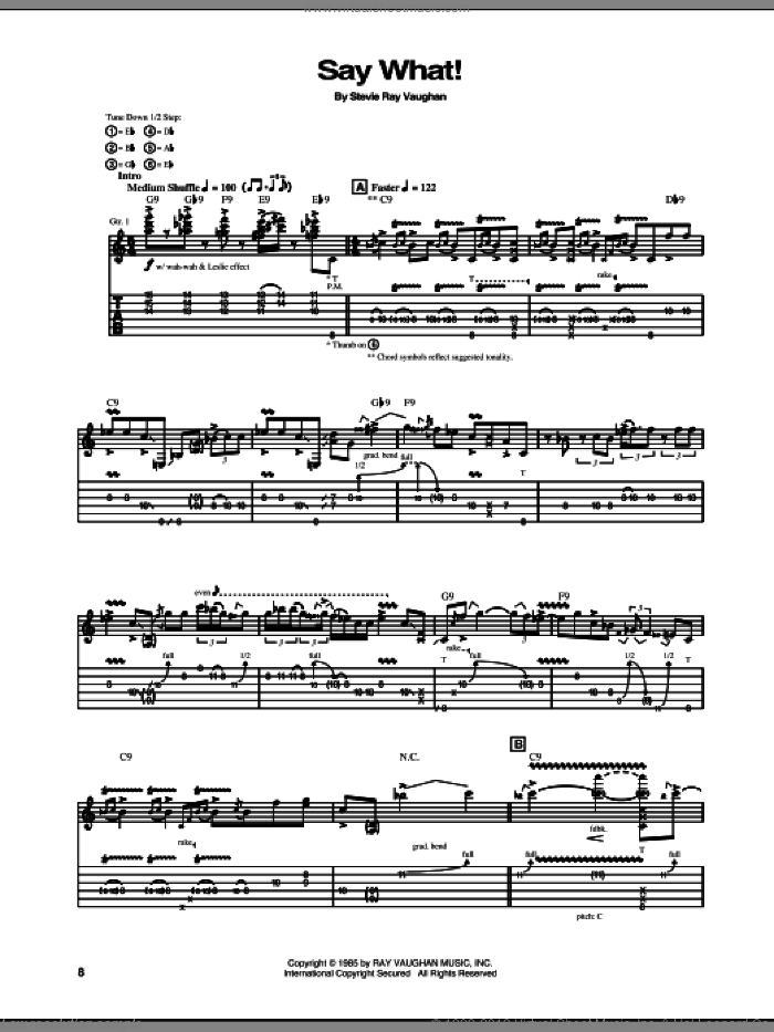 Say What sheet music for guitar (tablature) by Stevie Ray Vaughan. Score Image Preview.