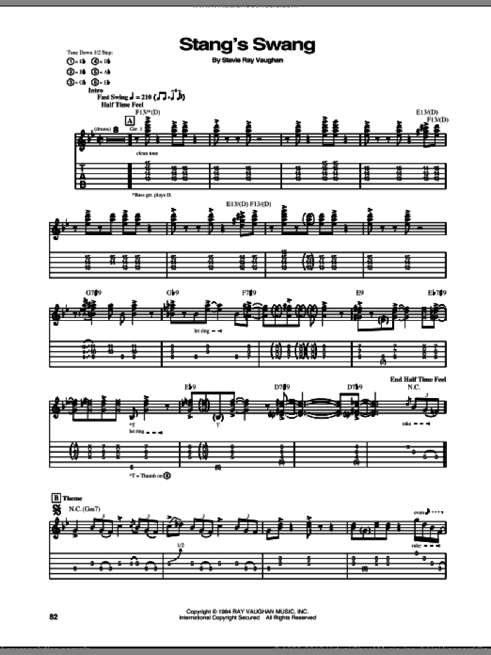 Stang's Swang sheet music for guitar (tablature) by Stevie Ray Vaughan, intermediate. Score Image Preview.