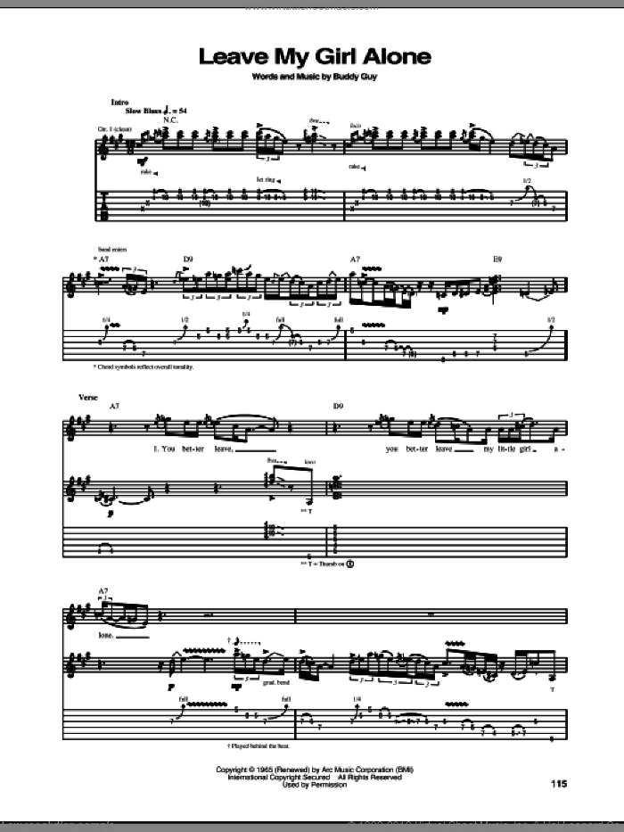 Leave My Girl Alone sheet music for guitar (tablature) by Stevie Ray Vaughan and Buddy Guy, intermediate. Score Image Preview.