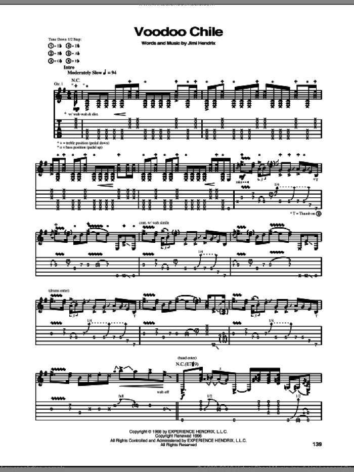 Voodoo Chile sheet music for guitar (tablature) by Stevie Ray Vaughan and Jimi Hendrix, intermediate skill level