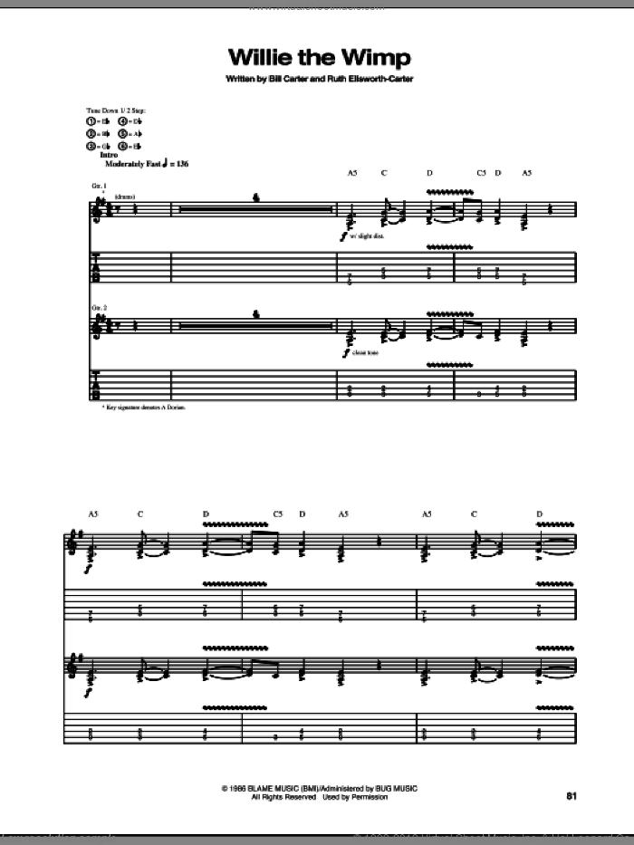 Willie The Wimp sheet music for guitar (tablature) by Ruth Ellsworth and Stevie Ray Vaughan. Score Image Preview.