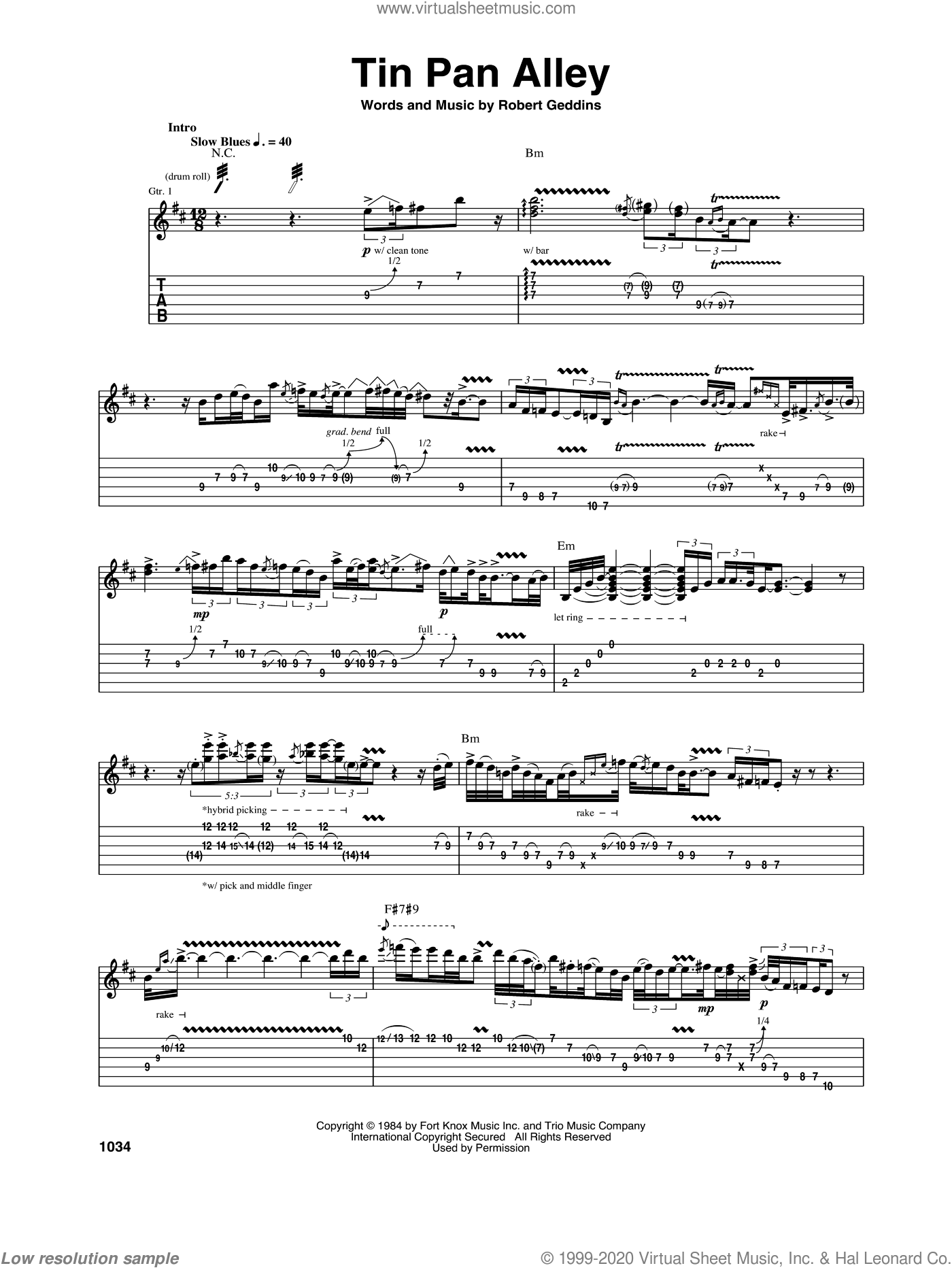Tin Pan Alley sheet music for guitar (tablature) by Stevie Ray Vaughan and Robert Geddins. Score Image Preview.