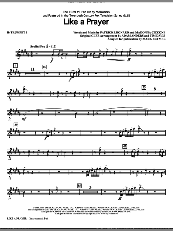 Like A Prayer (complete set of parts) sheet music for orchestra/band by Madonna, Patrick Leonard, Adam Anders and Tim Davis, Glee Cast, Mark Brymer, Miscellaneous and Tim Davis, intermediate skill level