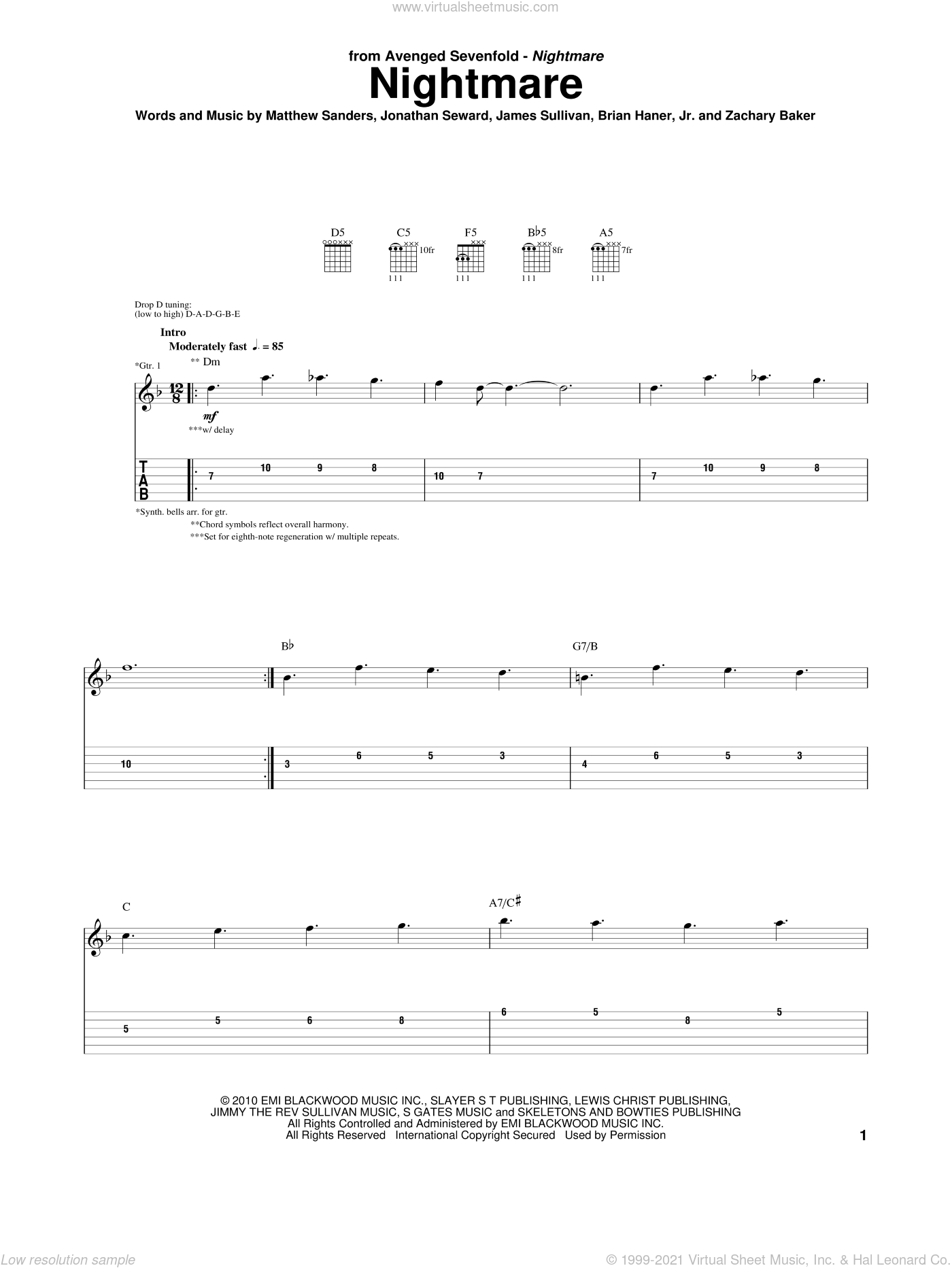 Nightmare sheet music for guitar (tablature) by Avenged Sevenfold, Brian Haner, Jr., James Sullivan, Matthew Sanders and Zachary Baker, intermediate skill level