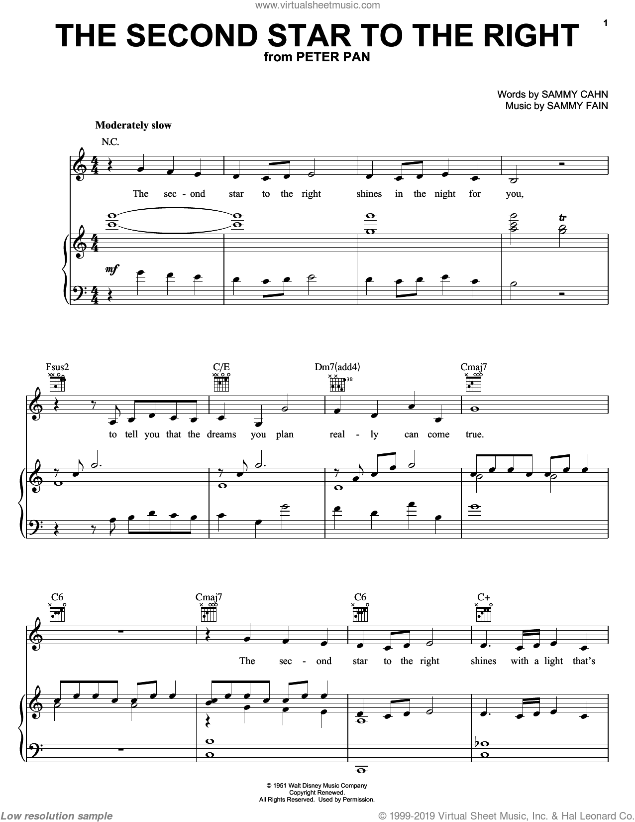 The Second Star To The Right sheet music for voice, piano or guitar by Sammy Cahn, Doris Day and Sammy Fain, intermediate skill level