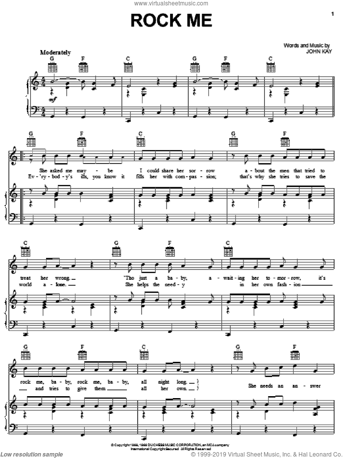 Rock Me sheet music for voice, piano or guitar by Steppenwolf and John Kay, intermediate skill level