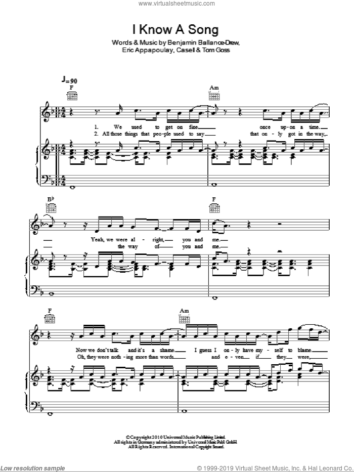 I Know A Song sheet music for voice, piano or guitar by Tom Goss. Score Image Preview.