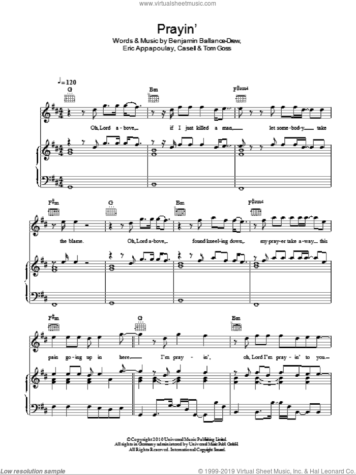 Prayin' sheet music for voice, piano or guitar by Tom Goss