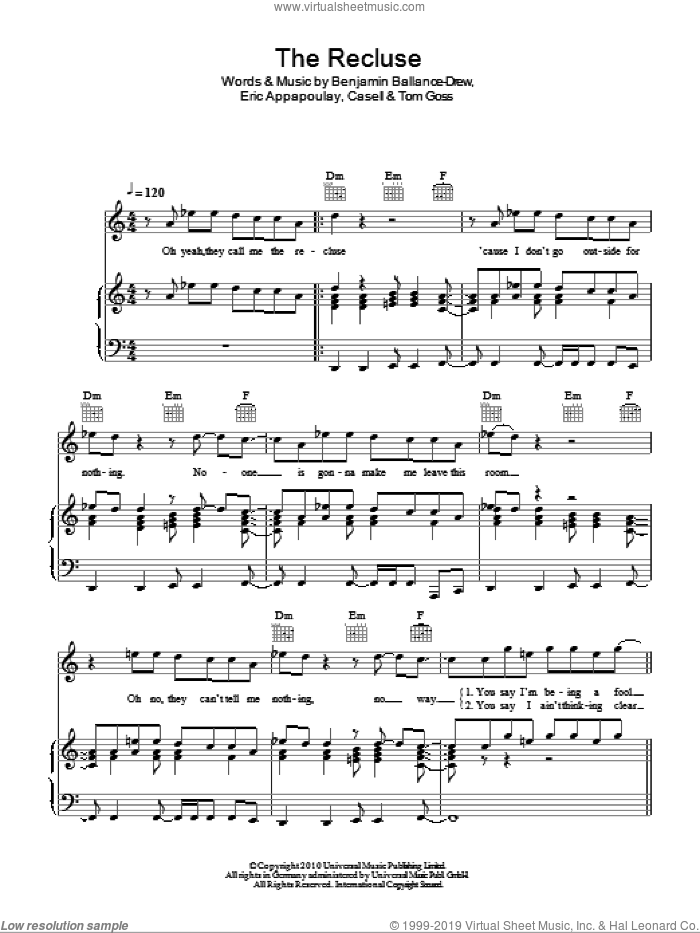 The Recluse sheet music for voice, piano or guitar by Tom Goss