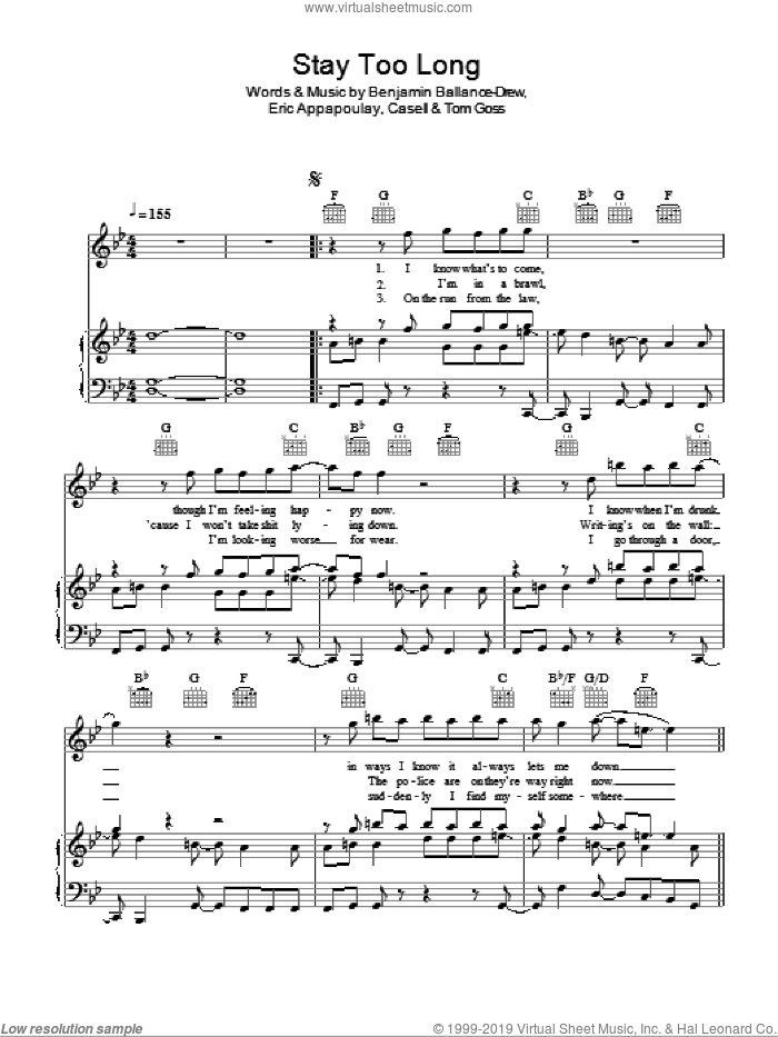 Stay Too Long sheet music for voice, piano or guitar by Tom Goss. Score Image Preview.