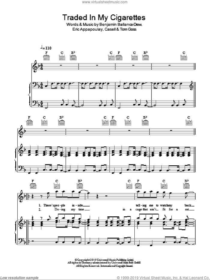 Traded In My Cigarettes sheet music for voice, piano or guitar by Tom Goss. Score Image Preview.
