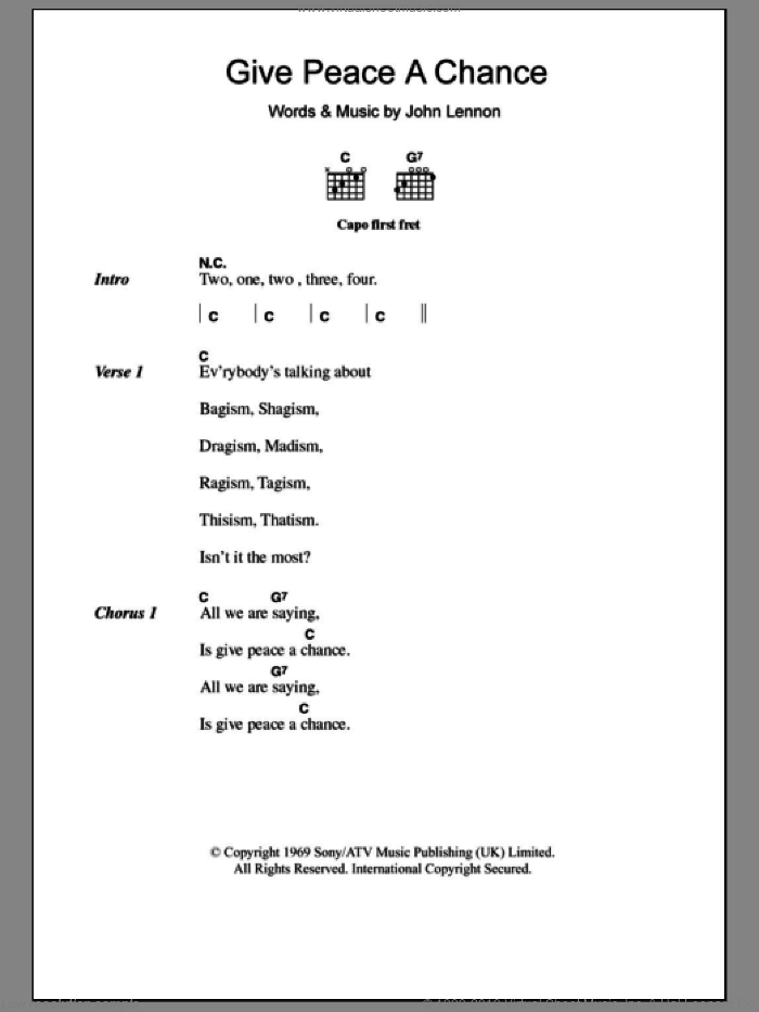 Give Peace A Chance sheet music for guitar (chords) by John Lennon. Score Image Preview.