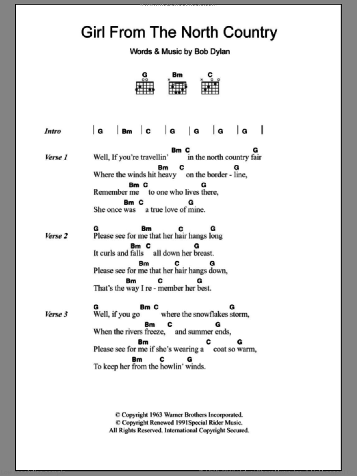 Cash Girl From The North Country Sheet Music For Guitar Chords