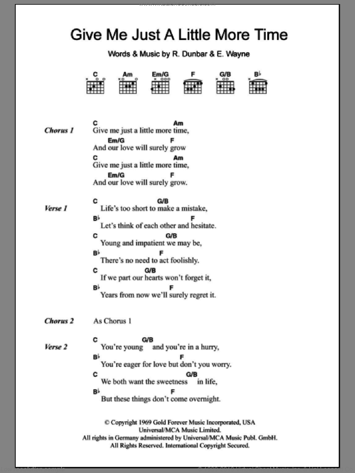 Give Me Just A Little More Time sheet music for guitar (chords) by Chairmen of the Board, intermediate guitar (chords). Score Image Preview.