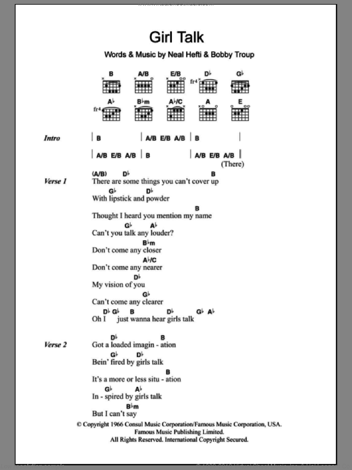 Girl Talk sheet music for guitar (chords) by Neal Hefti and Bobby Troup, intermediate