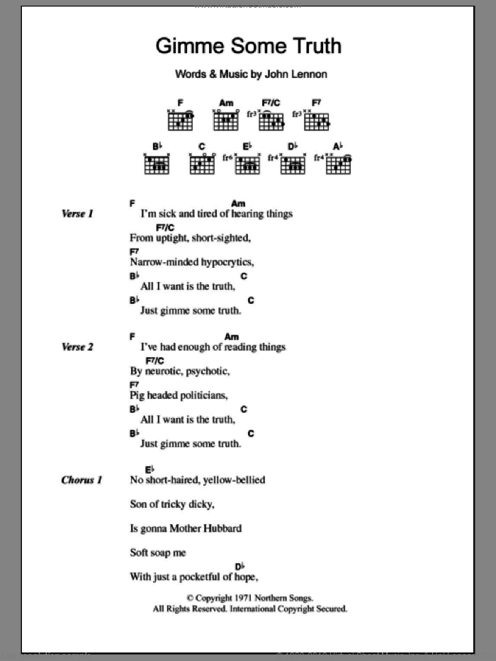 Gimme Some Truth sheet music for guitar (chords) by John Lennon. Score Image Preview.