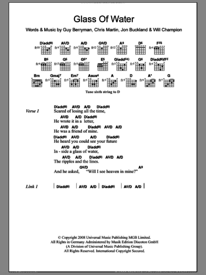 Glass Of Water sheet music for guitar (chords) by Coldplay. Score Image Preview.