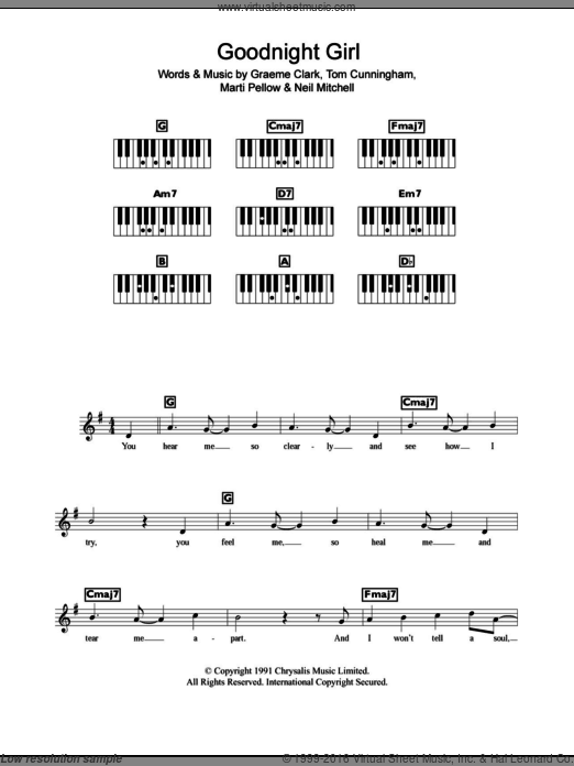 Goodnight Girl sheet music for piano solo (chords, lyrics, melody) by Tom Cunningham