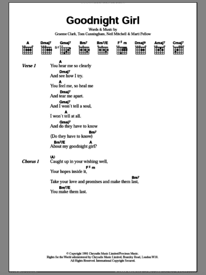 Goodnight Girl sheet music for guitar (chords) by Wet Wet Wet. Score Image Preview.