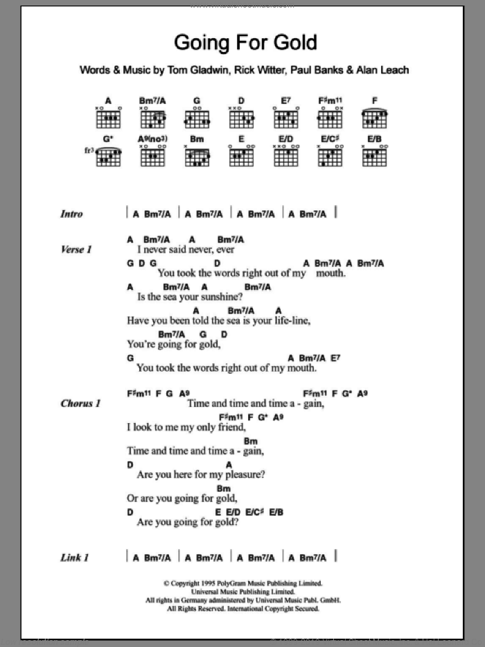 Going For Gold sheet music for guitar (chords) by Tom Gladwin and Shed Seven. Score Image Preview.
