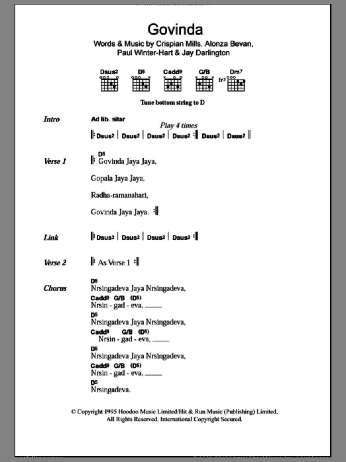 Govinda sheet music for guitar (chords) by Paul Winter-Hart