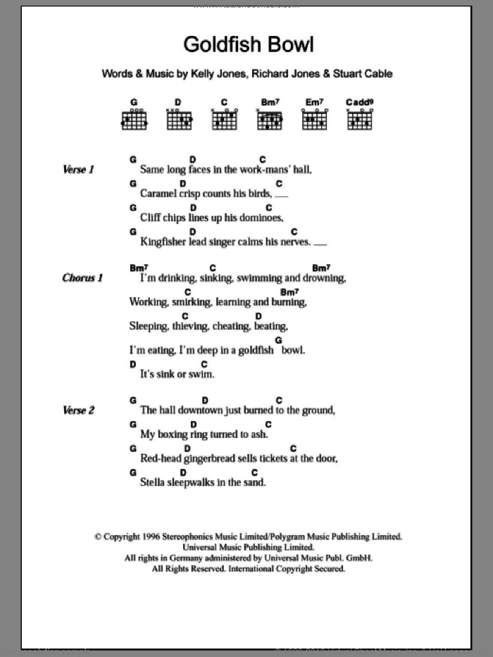 Goldfish Bowl sheet music for guitar (chords) by Stereophonics, Kelly Jones, Richard Jones and Stuart Cable, intermediate skill level