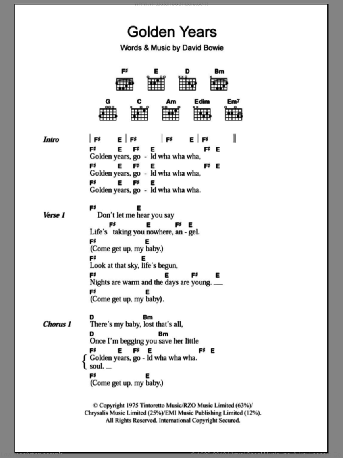 Golden Years sheet music for guitar (chords) by David Bowie, intermediate guitar (chords). Score Image Preview.