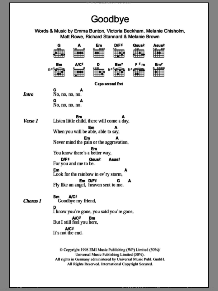 Goodbye sheet music for guitar (chords) by Victoria Beckham