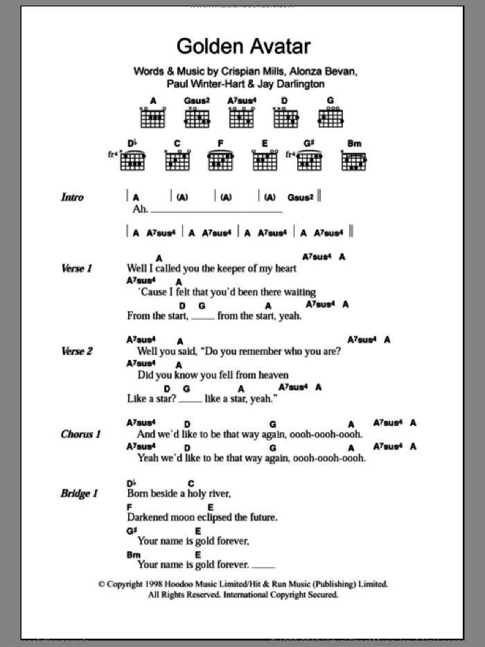 Golden Avatar sheet music for guitar (chords) by Kula Shaker, Alonza Bevan, Crispian Mills, Jay Darlington and Paul Winter-Hart, intermediate skill level