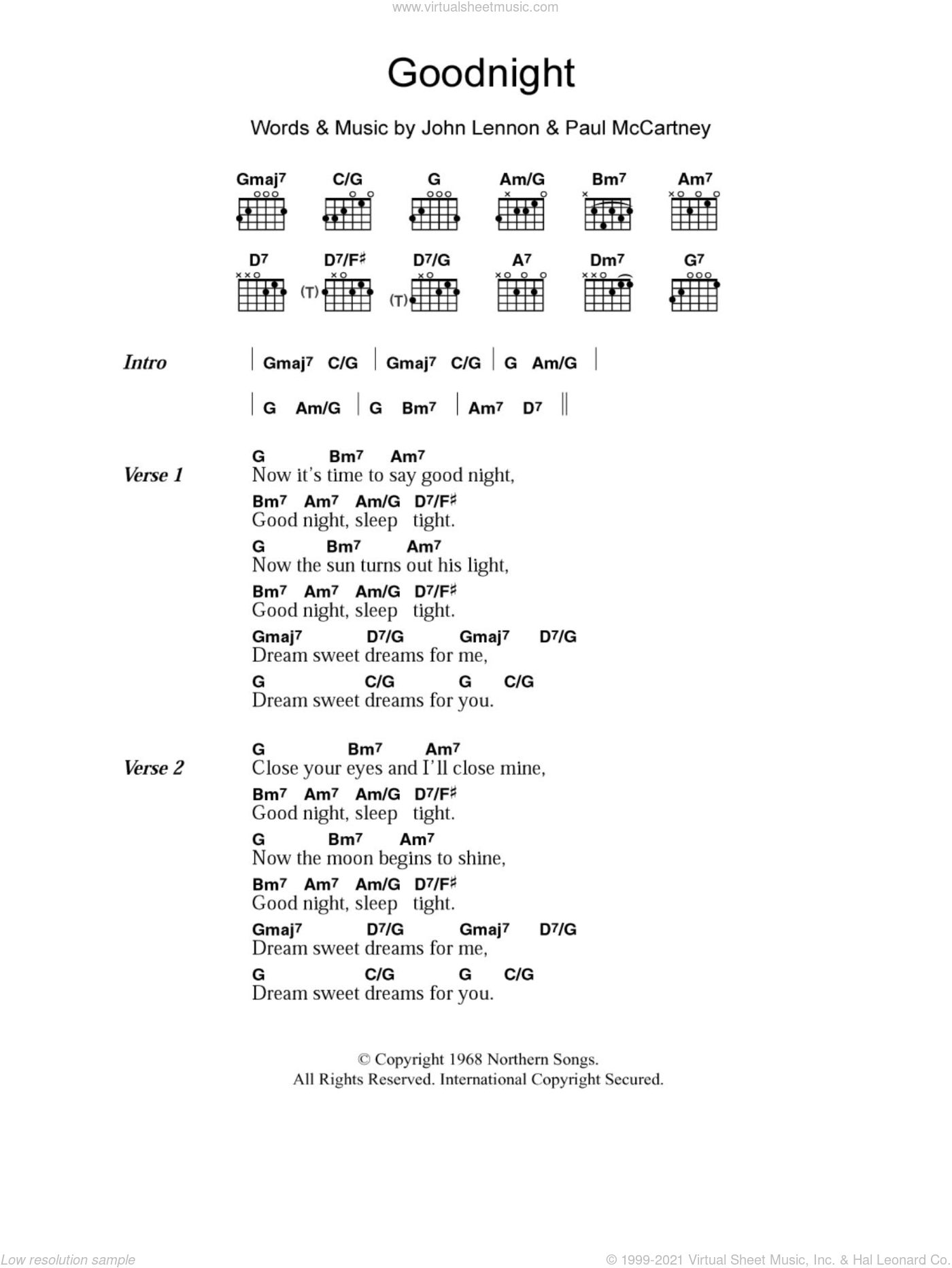 Goodnight sheet music for guitar (chords) by The Beatles, John Lennon and Paul McCartney, intermediate