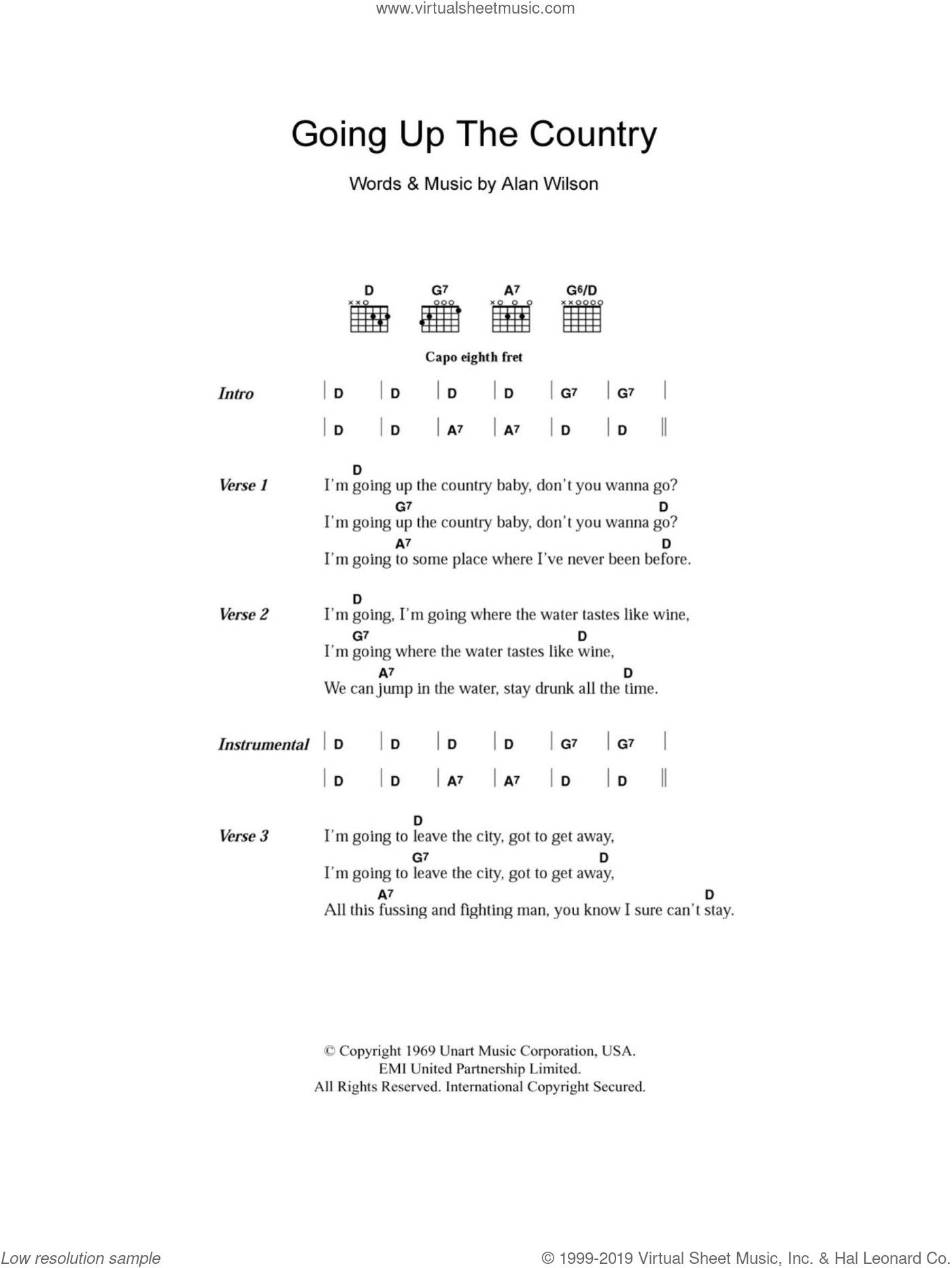 Going Up The Country sheet music for guitar (chords, lyrics, melody) by Alan Wilson