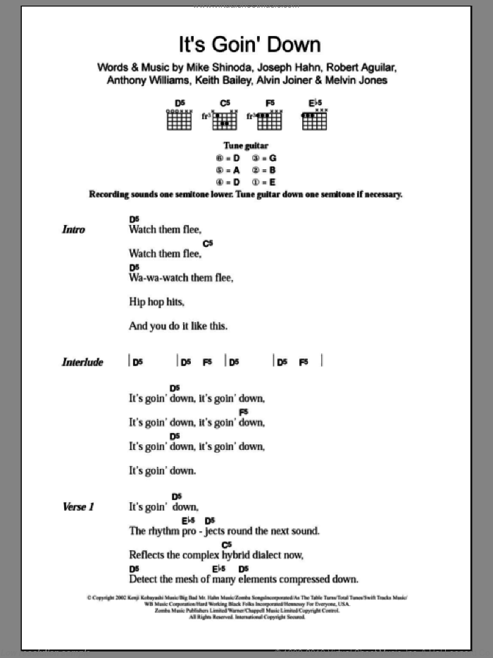 It's Goin' Down sheet music for guitar (chords) by X-Ecutioners, Alvin Joiner, Anthony Williams, Joseph Hahn, Keith Bailey, Melvin Jones, Mike Shinoda and Robert Aguilar, intermediate skill level